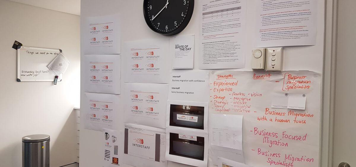 Closeup of Interstaff's office wall
