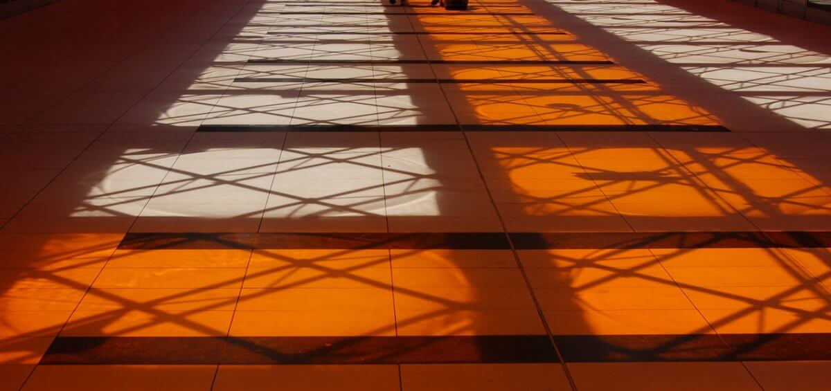 Orange shadow from train roof