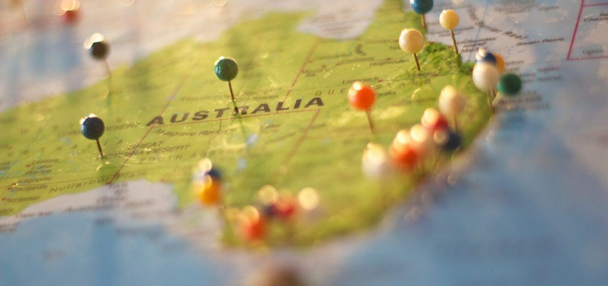 Map of Australia with pins on different areas