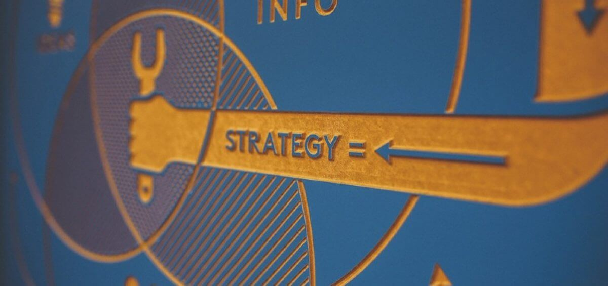 Closeup of strategy segment on marketing board