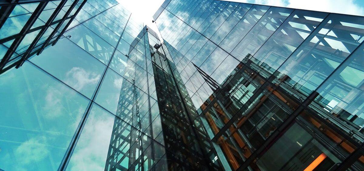 High rise buildings with sunny blue sky