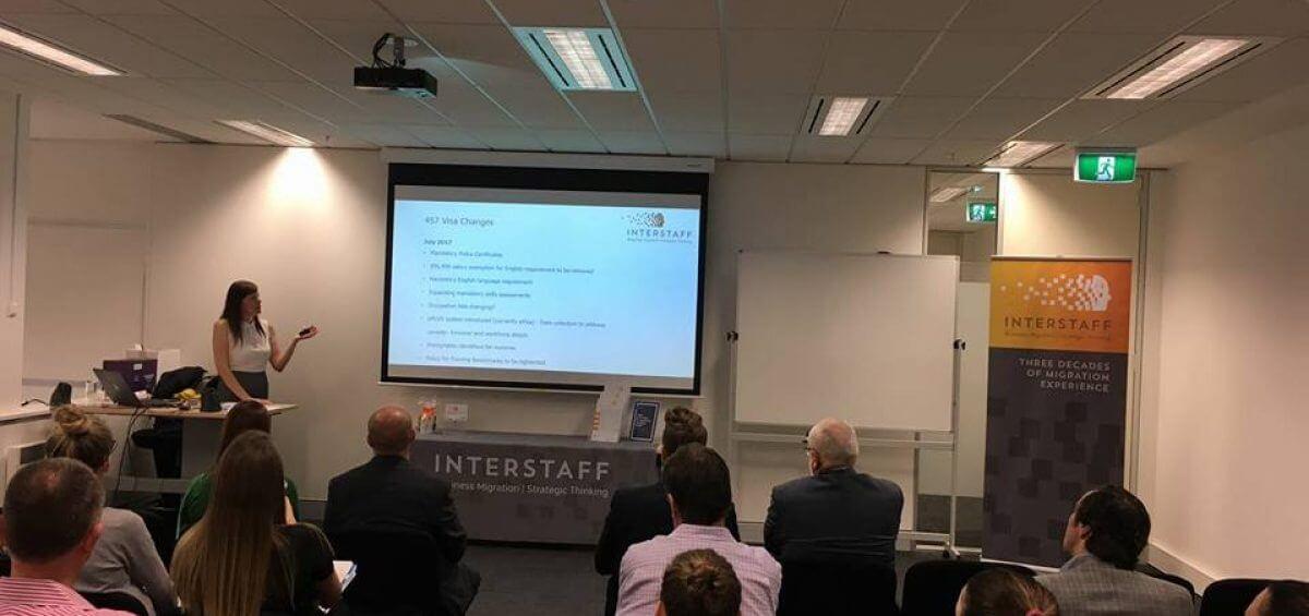 Interstaff's Sheila Woods presenting a presentation on business migration