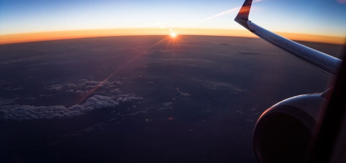 Aerial view of white clouds in sunset