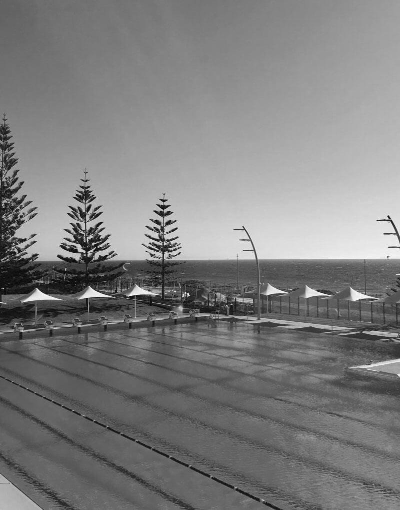Black and white of Scarborough Beach pool