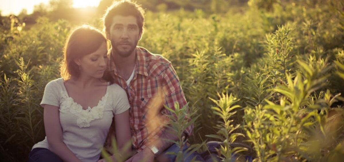 young couple in the fields