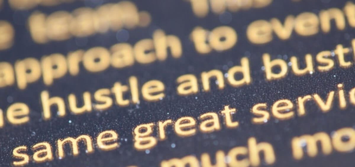 Close up of select English words to indicate the Citizenship English Language Test