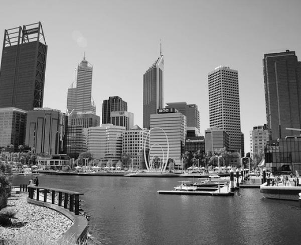 Elizabeth Quay in black and white