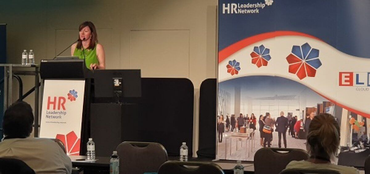 Sheila Woods from Interstaff providing a keynote at the WA HR Leadership Forum in 2018