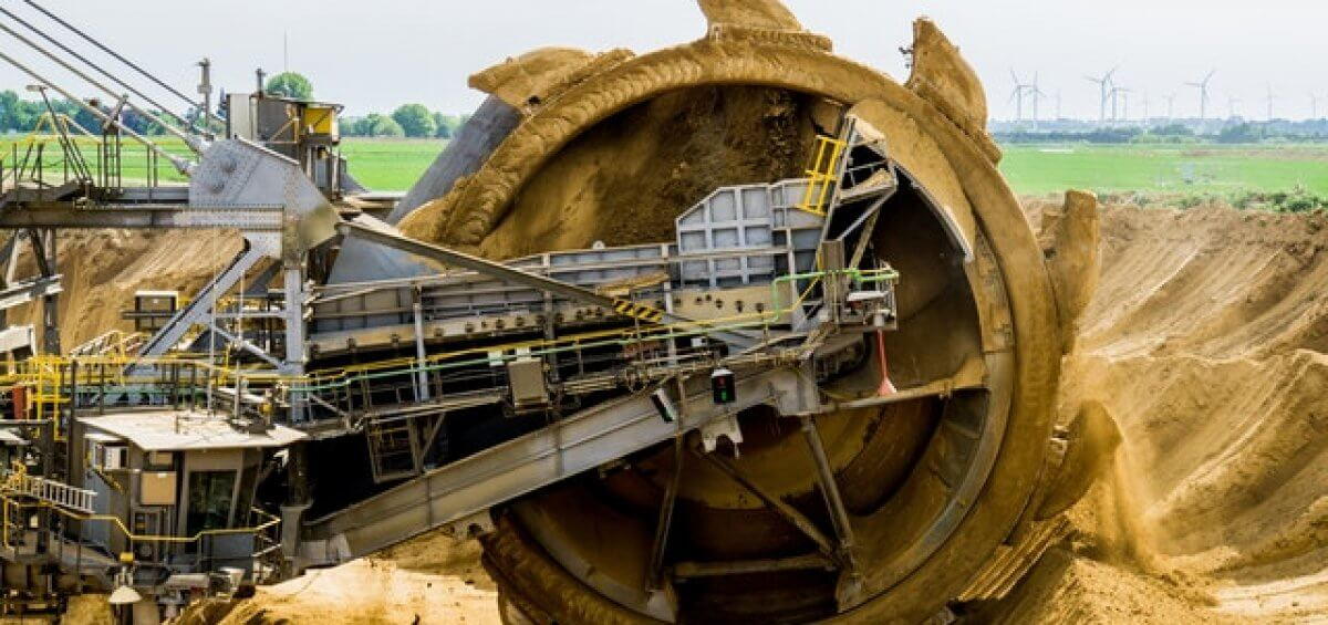 Brown coal bucket wheel excavator operating on regional mine site