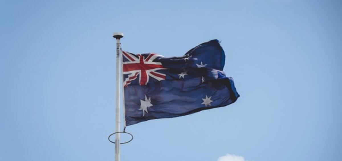 Australian flag waving through the air